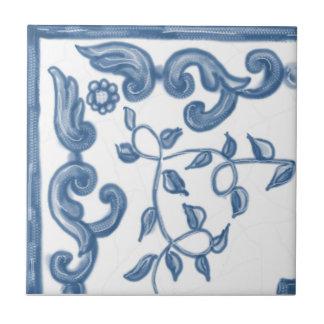 Baldosa cerámica de la esquina floral de Delft Teja Cerámica