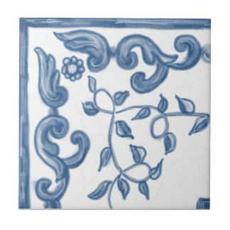 Baldosa cerámica de la esquina floral de Delft Azulejo Cuadrado Pequeño