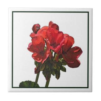 Baldosa cerámica de la foto roja del geranio azulejos cerámicos