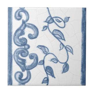 Baldosa cerámica de la frontera floral de Delft Teja