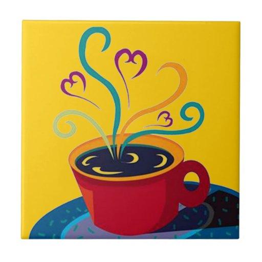 Baldosa cerámica de la mañana del café de la cocin azulejos