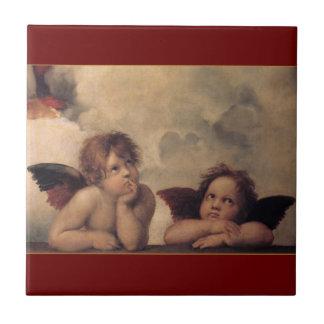 Baldosa cerámica de las querubes de Raphael Azulejo Cuadrado Pequeño