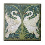 Baldosa cerámica de los cisnes de Nouveau del vint Azulejos