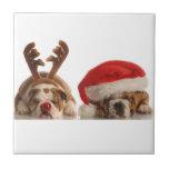 Baldosa cerámica de los dogos del navidad tejas