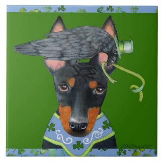 Baldosa cerámica de Manchester Terrier Azulejo Cuadrado Grande
