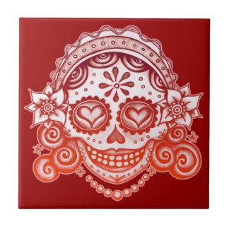 Baldosa cerámica de señora Catrina del cráneo del  Teja Ceramica