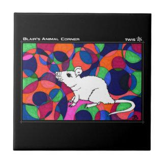 Baldosa cerámica de TWIS: La rata de la esquina Azulejo Cuadrado Pequeño
