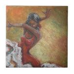 Baldosa cerámica del bailarín del flamenco de Duen Azulejo Cuadrado Pequeño
