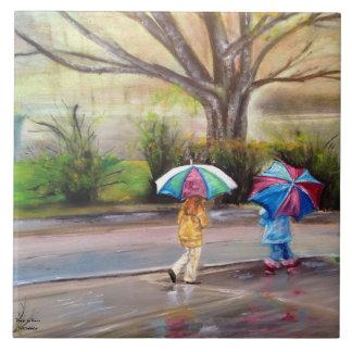 """Baldosa cerámica del """"día lluvioso perfecto"""" azulejo cuadrado grande"""