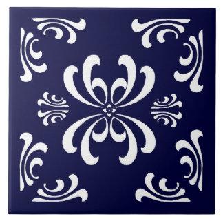 Baldosa cerámica del Flourish azul marino y blanco Azulejo Cuadrado Grande
