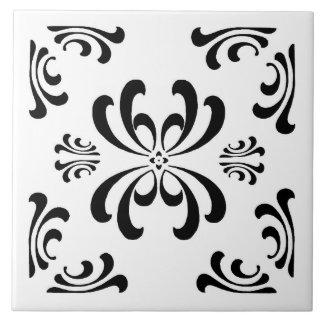 Baldosa cerámica del Flourish blanco y negro de Azulejo Cuadrado Grande