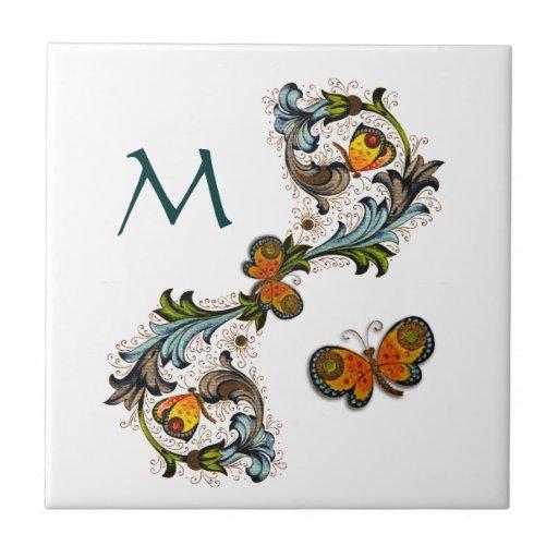 Baldosa cerámica del monograma floral florentino azulejo cuadrado pequeño