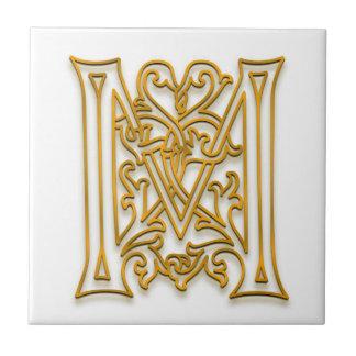 """Baldosa cerámica del """"oro irlandés"""" del monograma  azulejo cuadrado pequeño"""