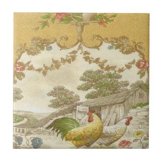Baldosa cerámica del país del vintage de la gallin azulejo cuadrado pequeño