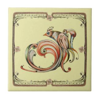Baldosa cerámica del pájaro de la cinta de Nouveau