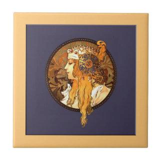 Baldosa cerámica del retrato de Nouveau del arte d Tejas Cerámicas