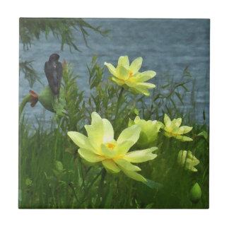 Baldosa cerámica del trago del lago lotus tejas