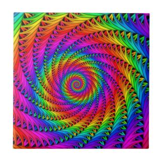 Baldosa cerámica espiral del arco iris azulejo cuadrado pequeño