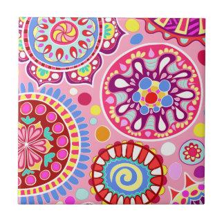 Baldosa cerámica maravillosa rosada del arte azulejo cuadrado pequeño