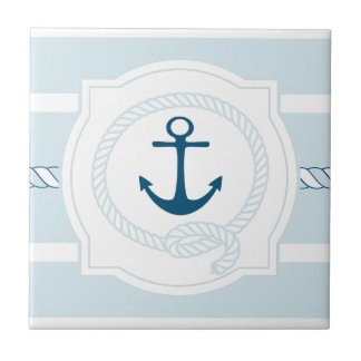 Baldosa cerámica náutica azul de las rayas de la azulejo cuadrado pequeño
