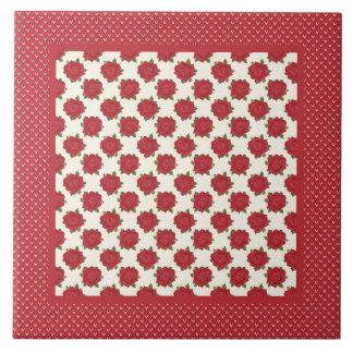 Baldosa cerámica para Trivet: Rosas de color rojo  Teja Ceramica