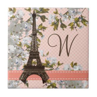 Baldosa cerámica Trivet de la torre Eiffel con mon Azulejo Cuadrado Pequeño