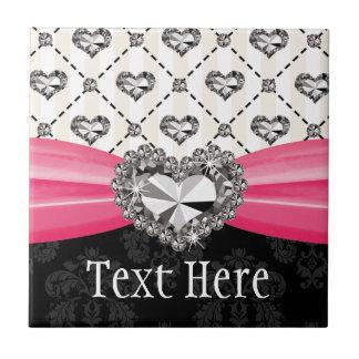 Baldosa cerámica Trivet del corazón rosado fucsia  Azulejo Cuadrado Pequeño