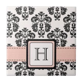 Baldosa cerámica Trivet del damasco rosado y negro Azulejo Cuadrado Pequeño