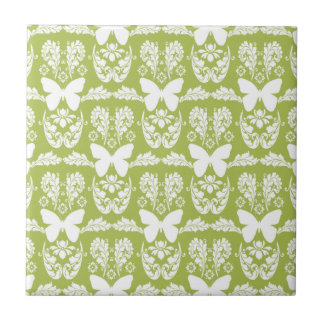 Baldosa cerámica Trivet del damasco verde de la ma Azulejo Cuadrado Pequeño