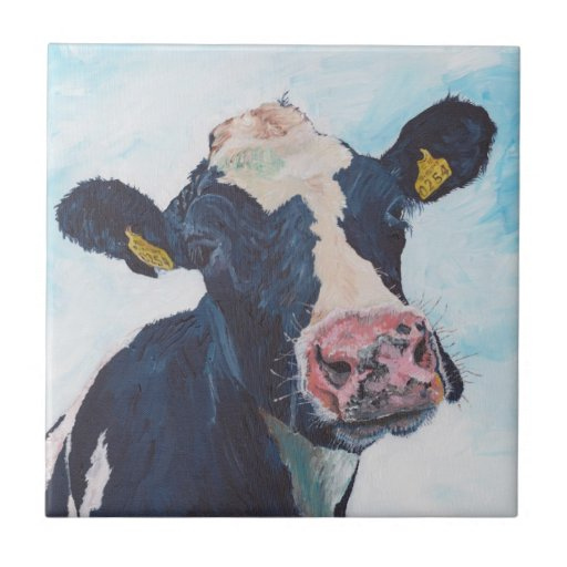 Baldosa cerámica - vaca frisia irlandesa 0254 azulejo cuadrado pequeño
