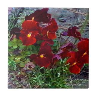 Baldosas cerámicas de la flor de PhotosNArt de MCl Azulejo Cuadrado Pequeño