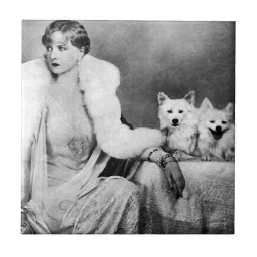 Baldosas cerámicas de los amantes del perro de la  azulejo cuadrado pequeño