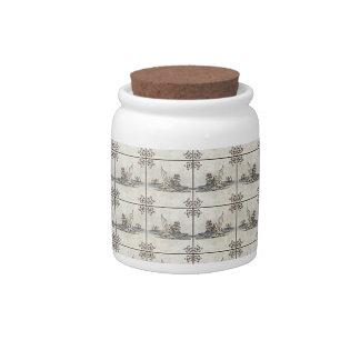 Baldosas cerámicas holandesas 4 jarras para caramelos