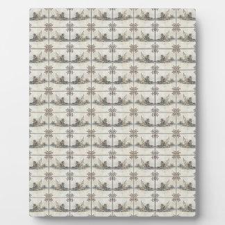 Baldosas cerámicas holandesas 4 placas de madera