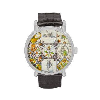 Baldosas cerámicas holandesas grandes reloj
