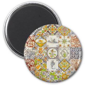 Baldosas cerámicas holandesas imán redondo 5 cm