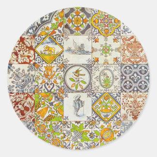 Baldosas cerámicas holandesas pegatinas redondas