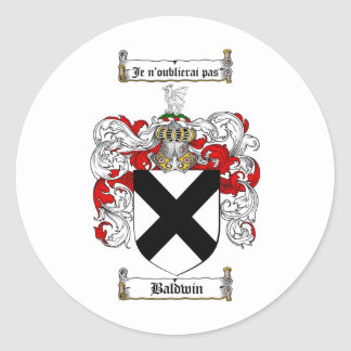 BALDWIN FAMILY CREST -  BALDWIN COAT OF ARMS CLASSIC ROUND STICKER