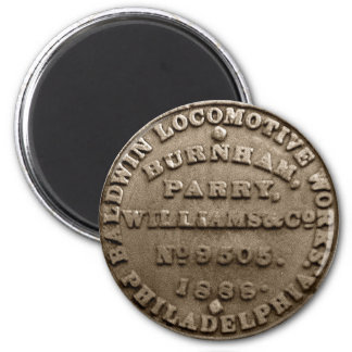 Baldwin Locomotive Builders Plate 1888 Magnet