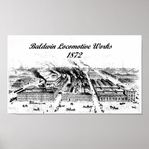 Baldwin Locomotive Works 1872 Poster