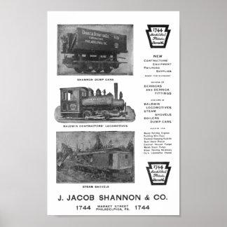 Baldwin Locomotive Works Contractor's Locomotives Poster