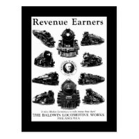 Baldwin Locomotives,Revenue Earners Postcard