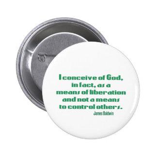 Baldwin on God 2 Inch Round Button