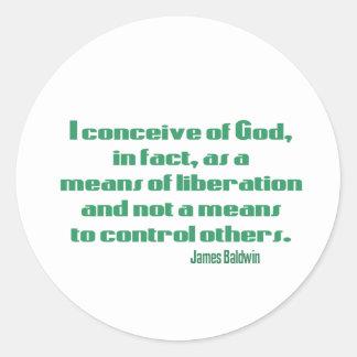 Baldwin on God Round Stickers