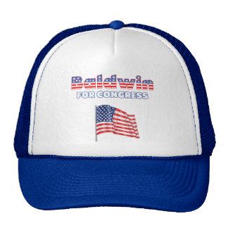 Baldwin para la bandera americana patriótica del c gorros bordados