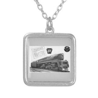 Baldwin-Pennsylvania Railroad T-1 Steam Locomotive Silver Plated Necklace