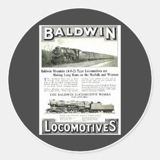 Baldwin Steam Locomotive Mountain Type in 1924 Classic Round Sticker