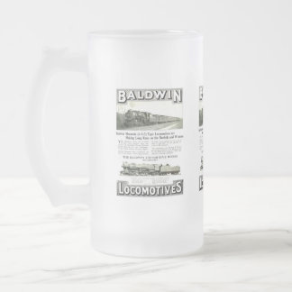 Baldwin Steam Locomotive Mountain Type in 1924 Frosted Glass Beer Mug
