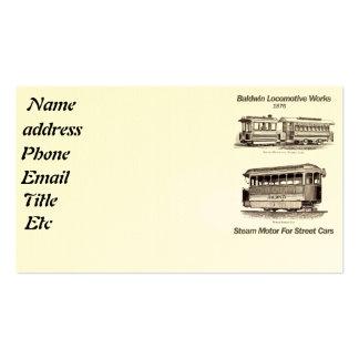 Baldwin Steam Motor For Street Cars 1876 Business Card