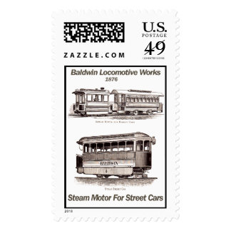 Baldwin Steam Motor For Street Cars 1876 Stamps